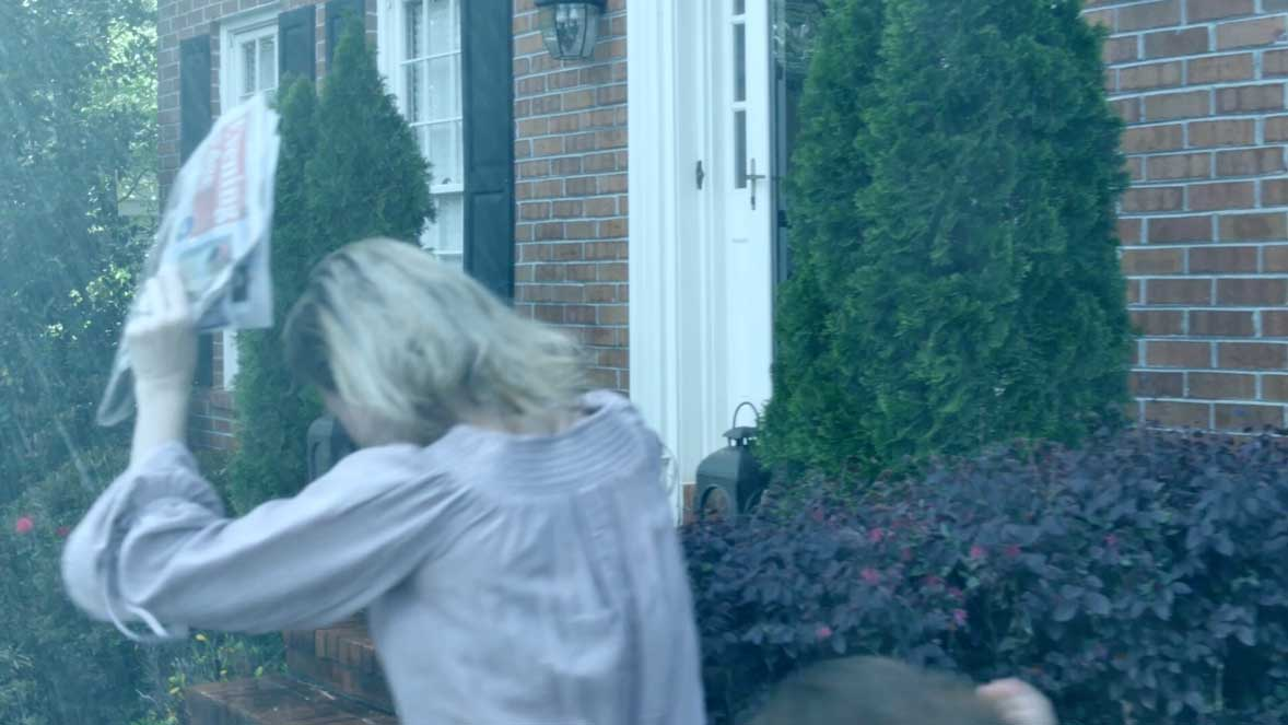 An example of visual storytelling, this rain-soaked sequence was shot on a sunny, 85-degree day.