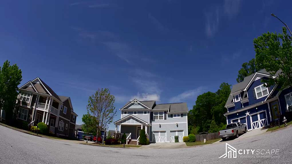 I used a fisheye lens for this shot of homes on a cul-de-sac.