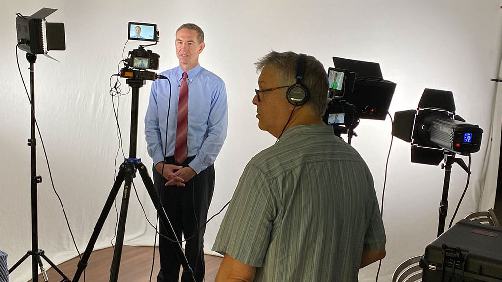 A one person video crew simplifies communication.